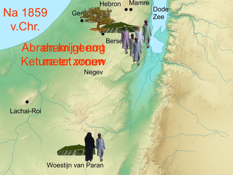 Na 1859 v.Chr. Abraham neemt Ketura tot vrouw en krijgt nog meer zonen