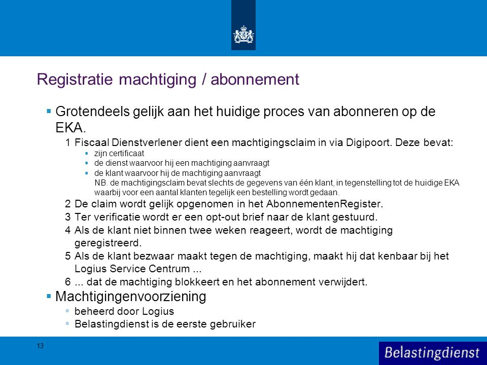 Registratie machtiging / abonnement