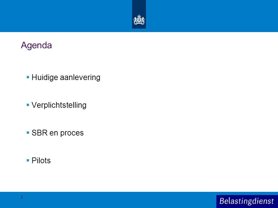 Agenda Huidige aanlevering Verplichtstelling SBR en proces Pilots 2