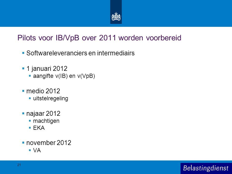 Pilots voor IB/VpB over 2011 worden voorbereid