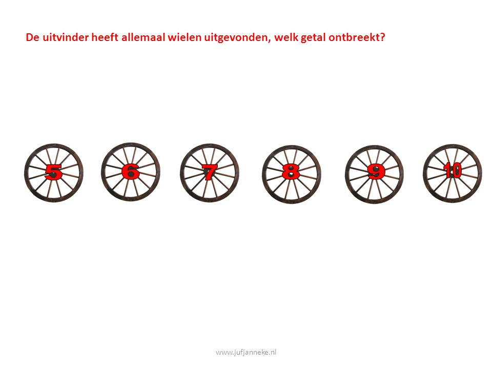 De uitvinder heeft allemaal wielen uitgevonden, welk getal ontbreekt