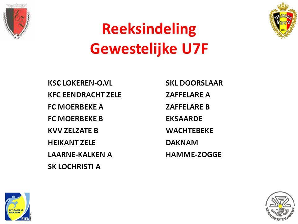 Reeksindeling Gewestelijke U7F