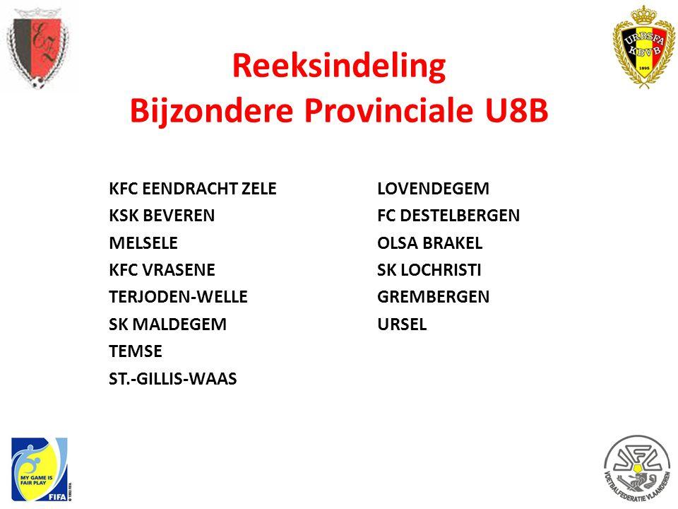 Reeksindeling Bijzondere Provinciale U8B