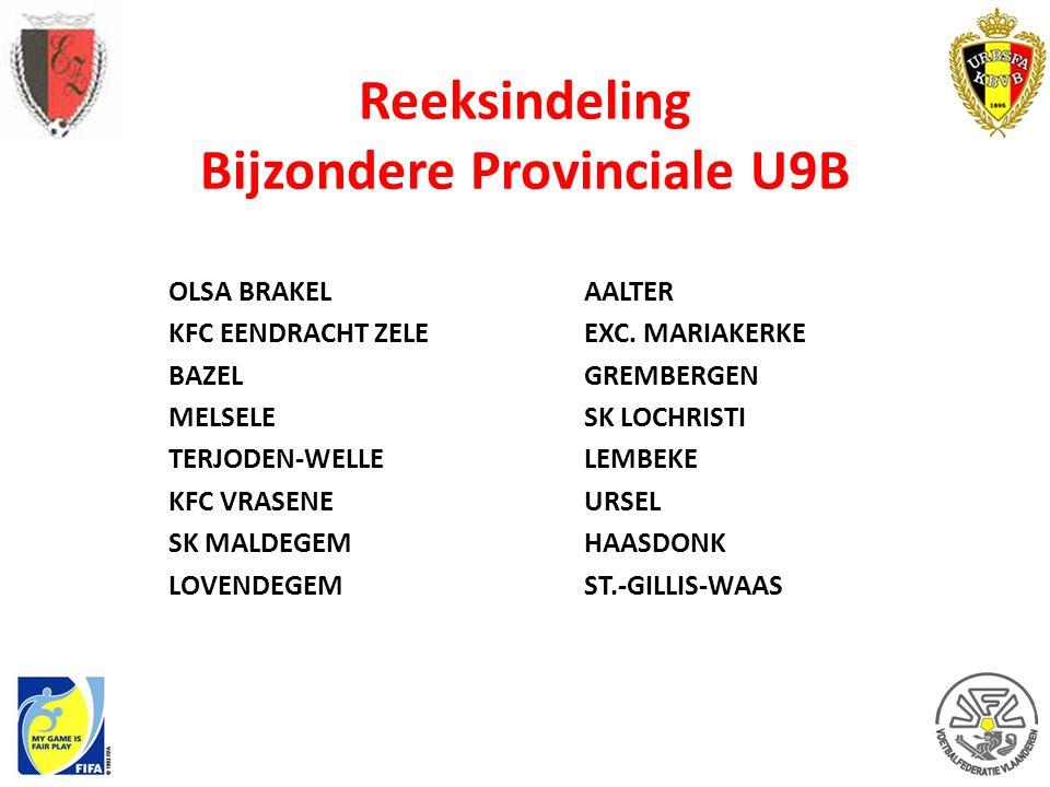 Reeksindeling Bijzondere Provinciale U9B