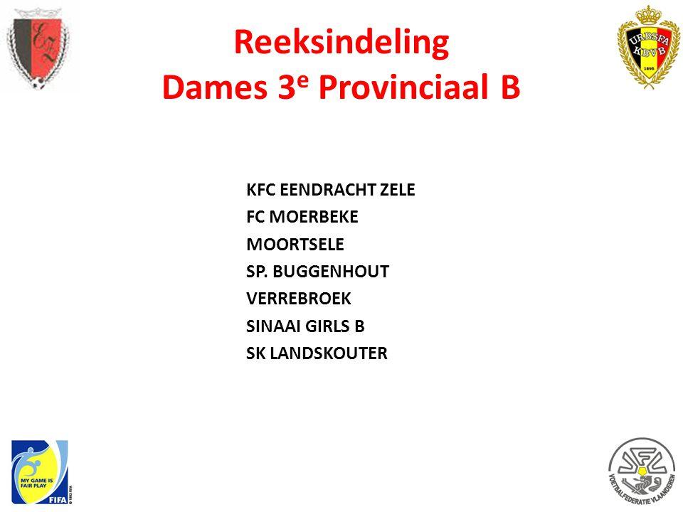 Reeksindeling Dames 3e Provinciaal B