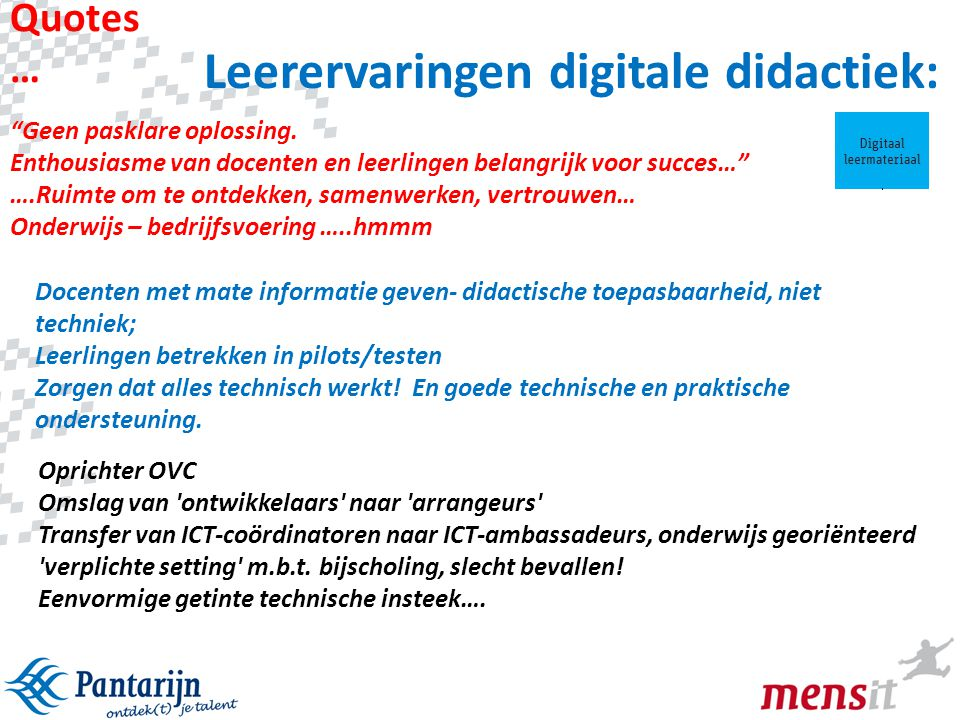 Leerervaringen digitale didactiek: