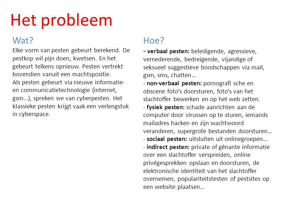 Het probleem Wat Elke vorm van pesten gebeurt berekend. De pestkop wil pijn doen, kwetsen. En het.
