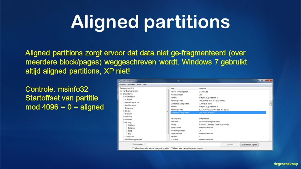 Aligned partitions