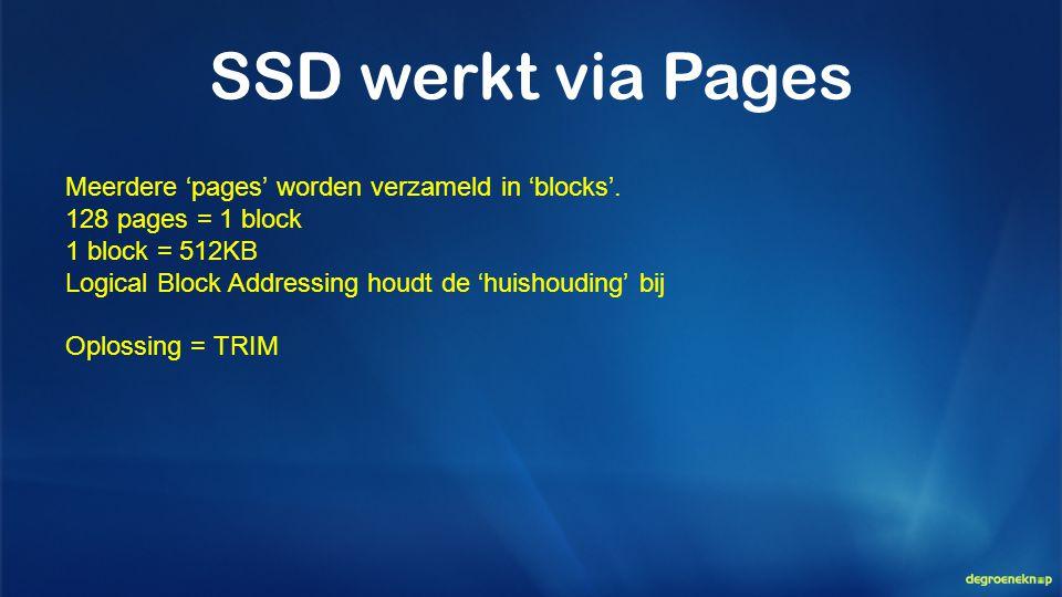 SSD werkt via Pages Meerdere 'pages' worden verzameld in 'blocks'.