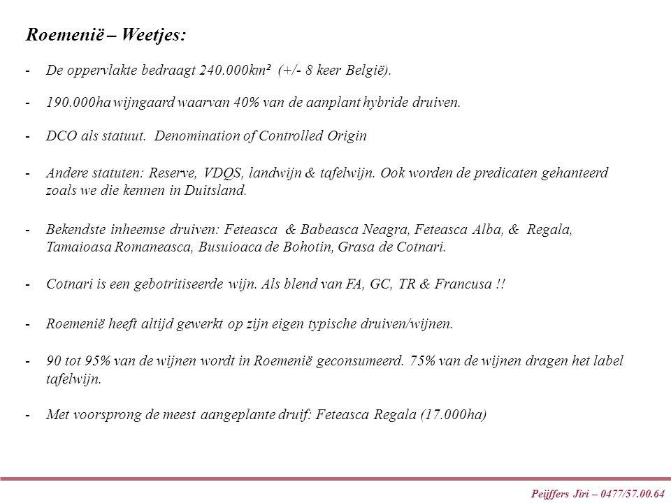 Roemenië – Weetjes: De oppervlakte bedraagt 240.000km² (+/- 8 keer België). 190.000ha wijngaard waarvan 40% van de aanplant hybride druiven.