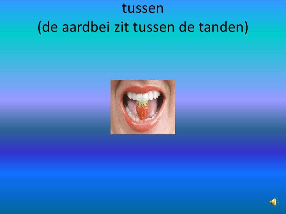 tussen (de aardbei zit tussen de tanden)