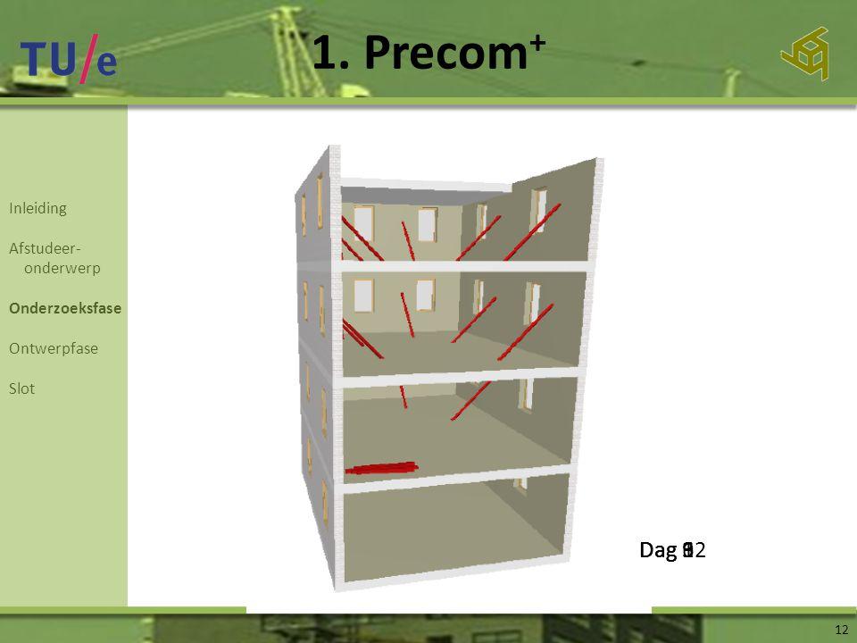 1. Precom+ Dag 6 Dag 12 Dag 3 Dag 9 Inleiding Afstudeer- onderwerp