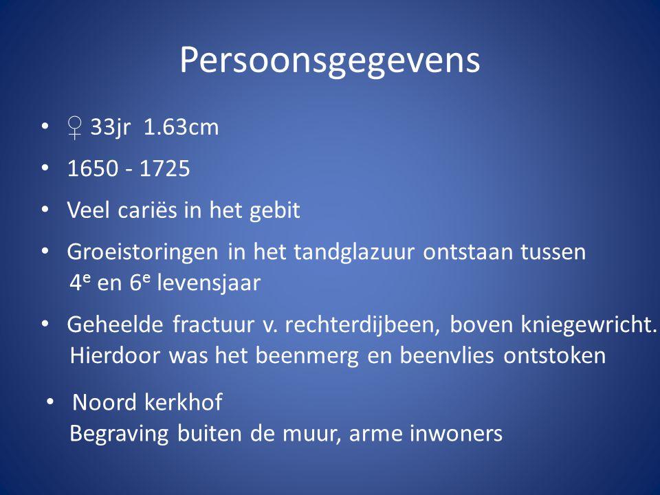 Persoonsgegevens ♀ 33jr 1.63cm 1650 - 1725 Veel cariës in het gebit