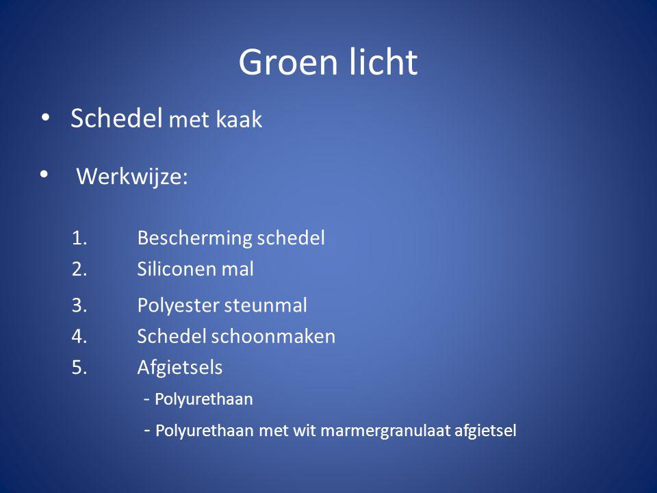 Groen licht Schedel met kaak Werkwijze: 1. Bescherming schedel