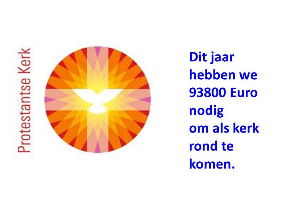 Dit jaar hebben we 93800 Euro nodig om als kerk rond te komen.