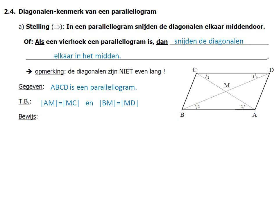 snijden de diagonalen elkaar in het midden. ABCD is een parallellogram. |AM|=|MC| en |BM|=|MD|