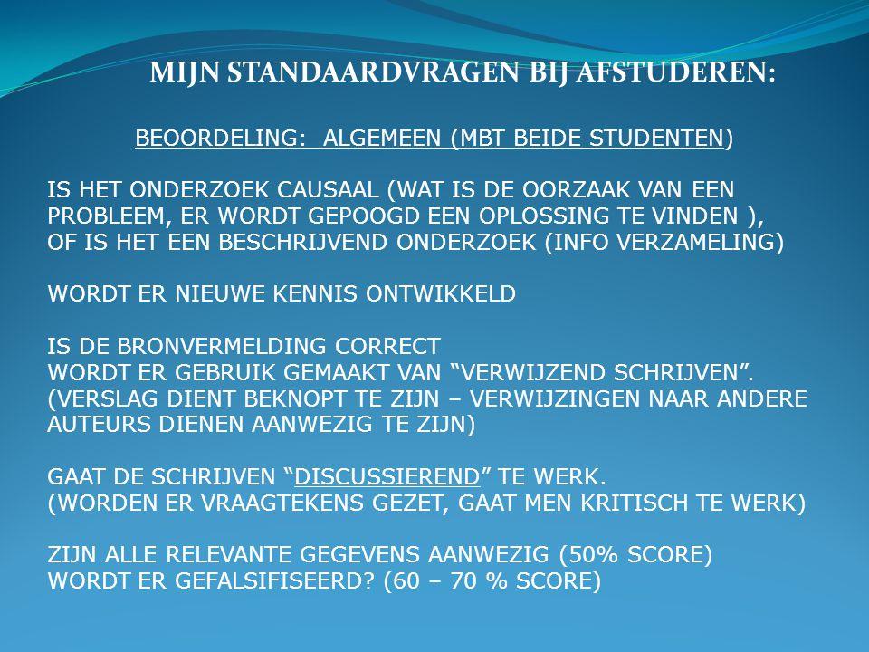 BEOORDELING: ALGEMEEN (MBT BEIDE STUDENTEN)