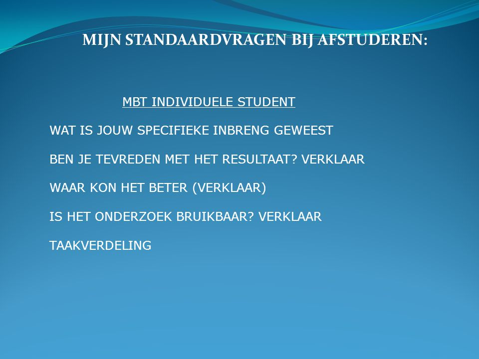 MBT INDIVIDUELE STUDENT