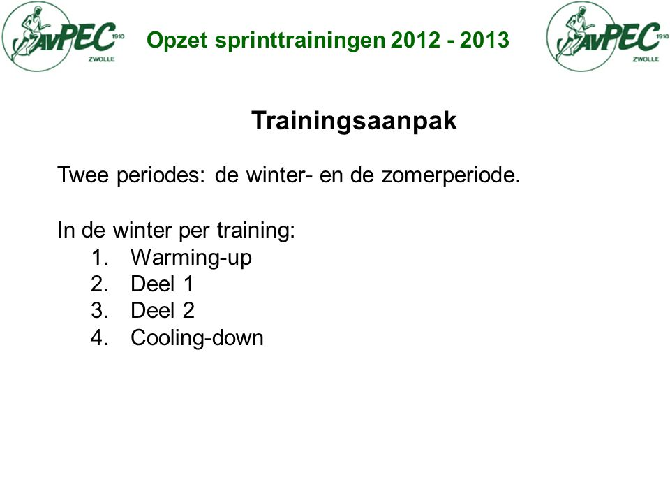 Trainingsaanpak Opzet sprinttrainingen