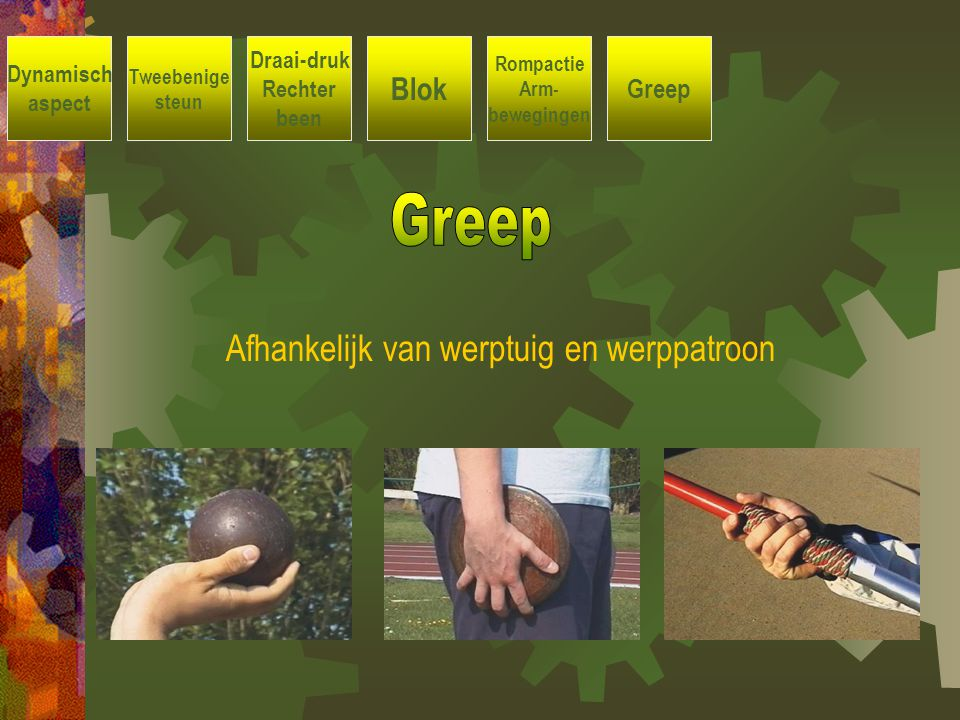 Greep Afhankelijk van werptuig en werppatroon Blok Greep Draai-druk