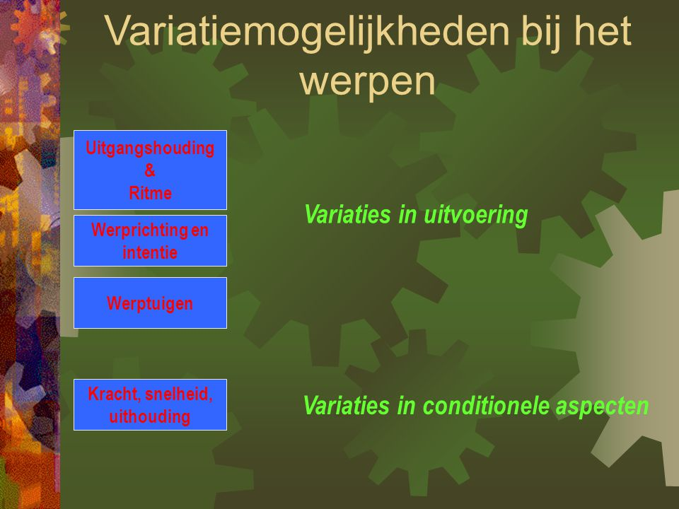 Variaties in uitvoering Variaties in conditionele aspecten