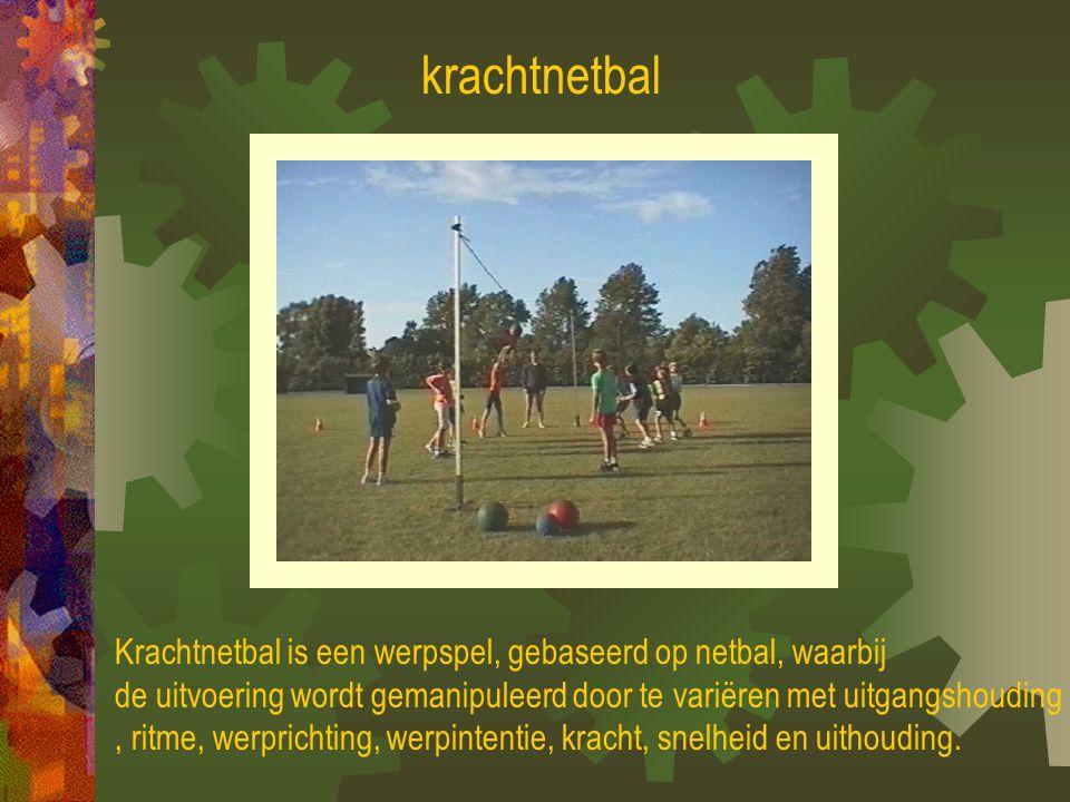 krachtnetbal Krachtnetbal is een werpspel, gebaseerd op netbal, waarbij. de uitvoering wordt gemanipuleerd door te variëren met uitgangshouding.
