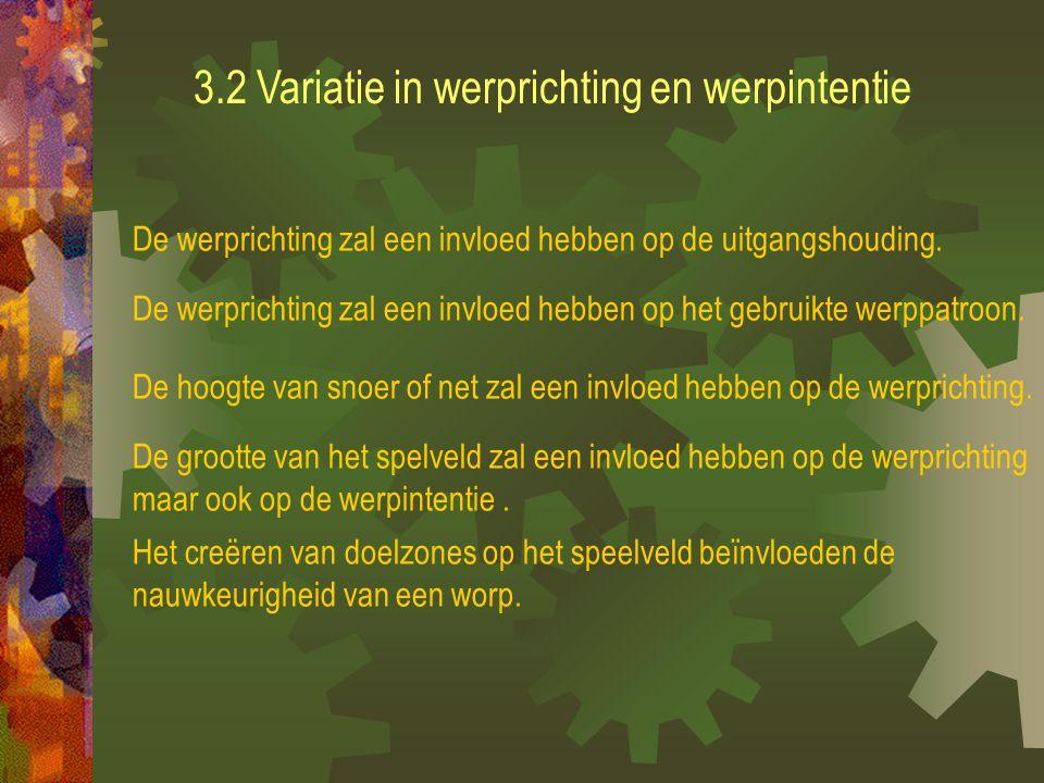 3.2 Variatie in werprichting en werpintentie