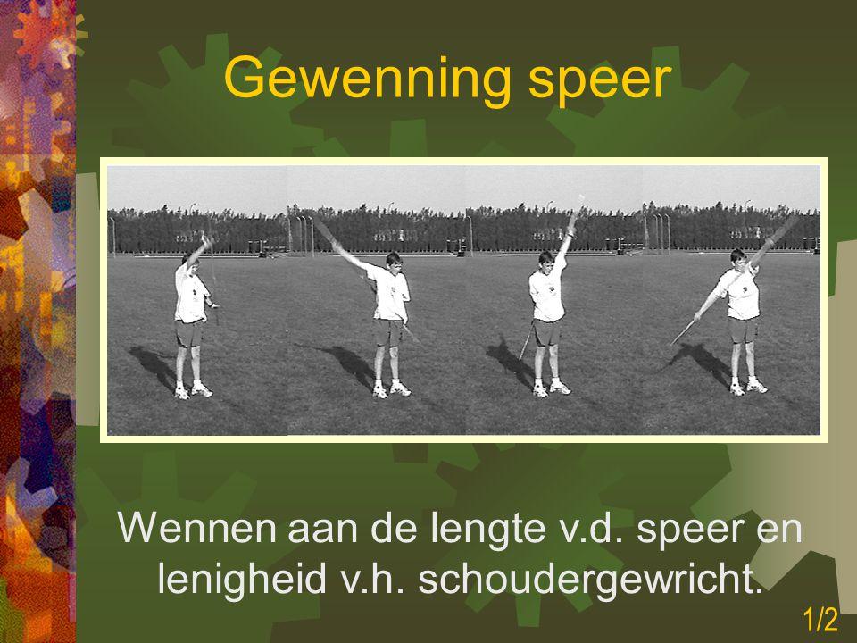 Wennen aan de lengte v.d. speer en lenigheid v.h. schoudergewricht.