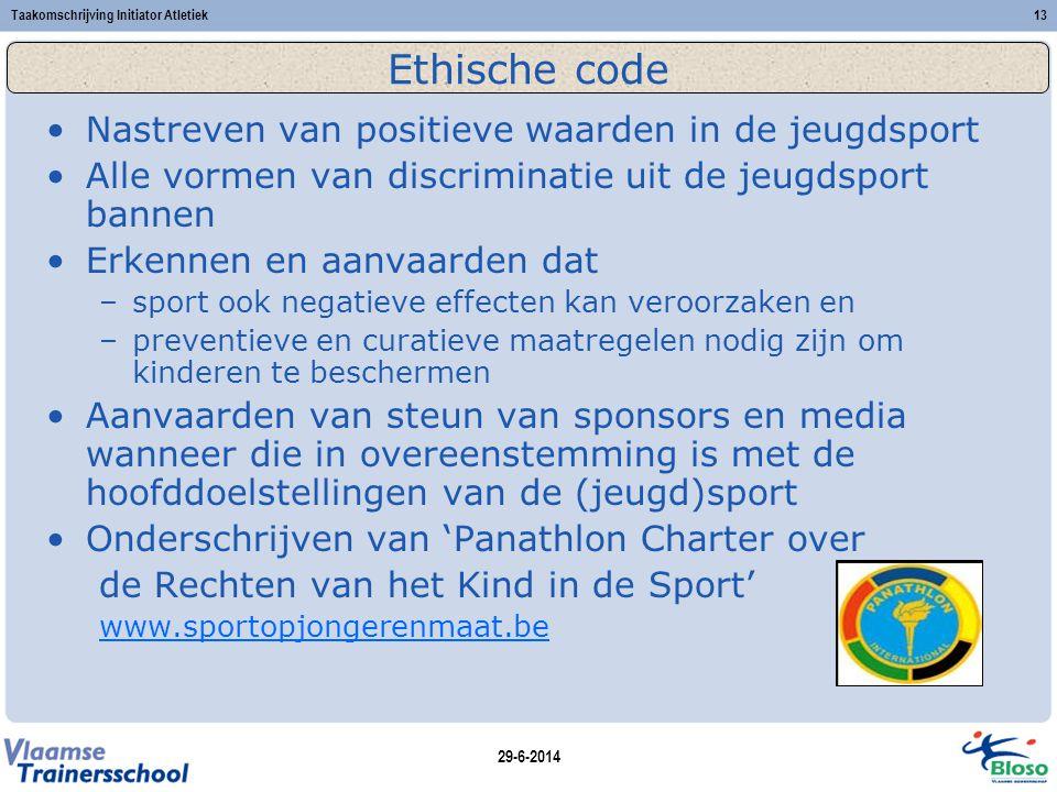 Ethische code Nastreven van positieve waarden in de jeugdsport
