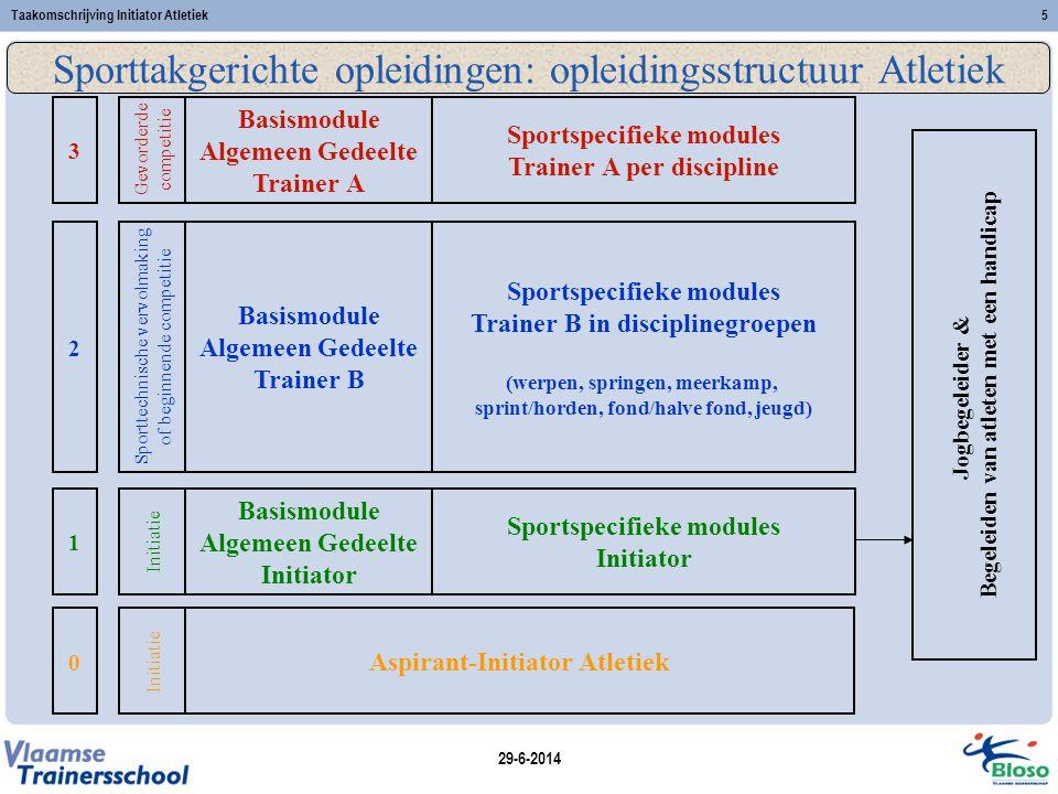 Sporttakgerichte opleidingen: opleidingsstructuur Atletiek