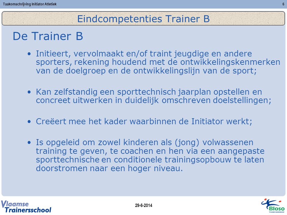 Eindcompetenties Trainer B