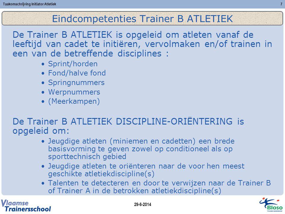 Eindcompetenties Trainer B ATLETIEK