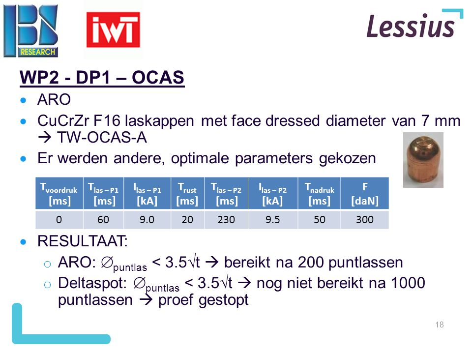 WP2 - DP1 – OCAS ARO. CuCrZr F16 laskappen met face dressed diameter van 7 mm  TW-OCAS-A. Er werden andere, optimale parameters gekozen.