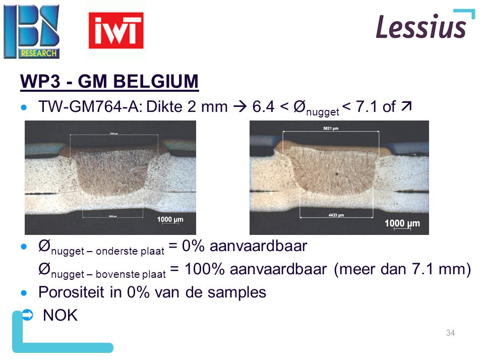 WP3 - GM BELGIUM TW-GM764-A: Dikte 2 mm  6.4 < Ønugget < 7.1 of  Ønugget – onderste plaat = 0% aanvaardbaar.