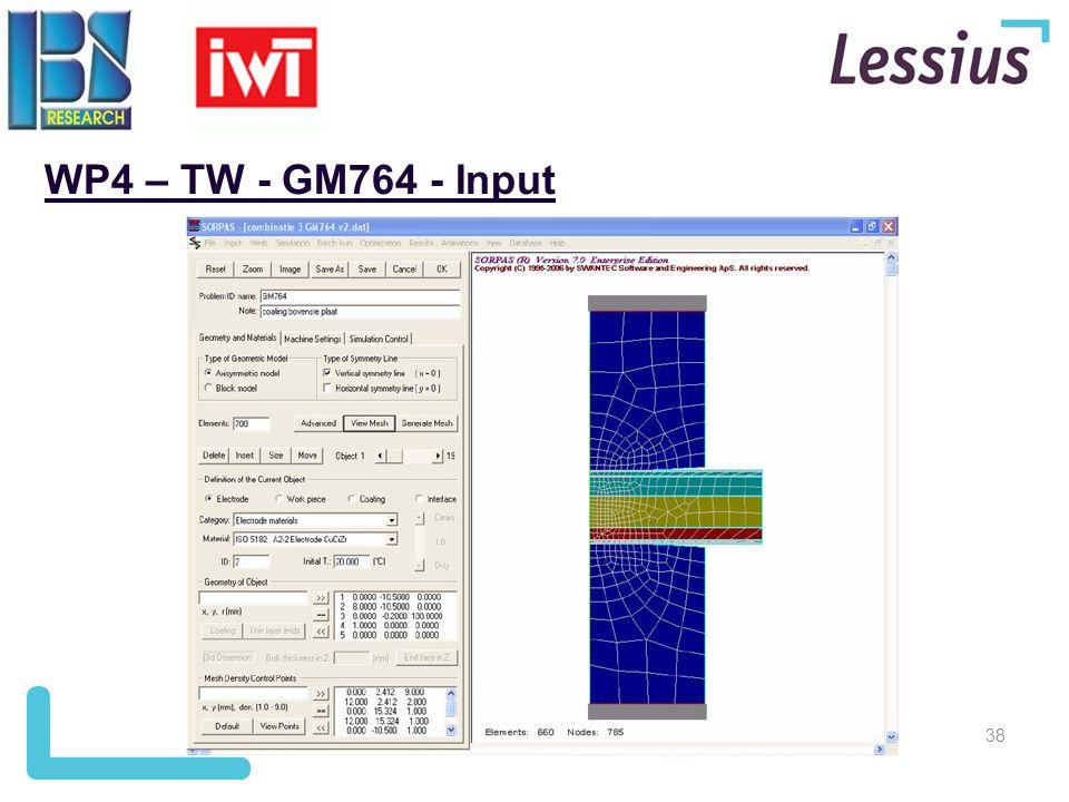 WP4 – TW - GM764 - Input