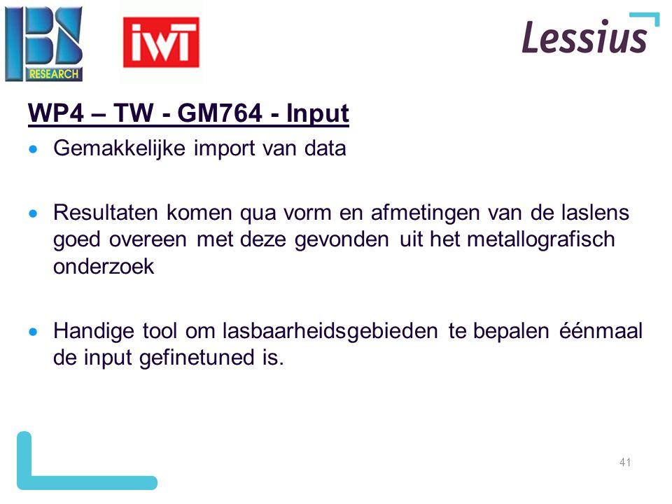 WP4 – TW - GM764 - Input Gemakkelijke import van data
