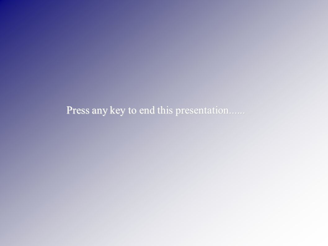 Press any key to end this presentation......
