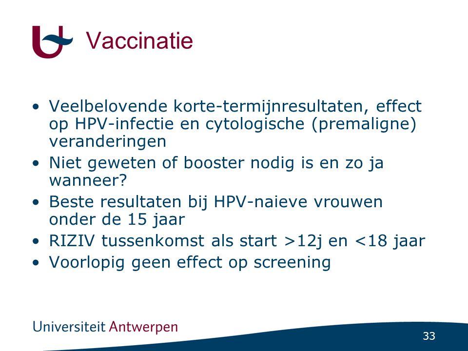 Vaccinatie Veelbelovende korte-termijnresultaten, effect op HPV-infectie en cytologische (premaligne) veranderingen.
