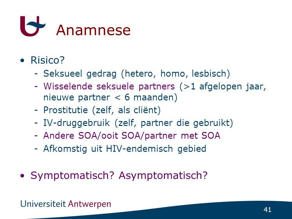 Anamnese Risico Symptomatisch Asymptomatisch
