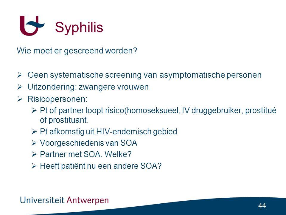 Syphilis Wie moet er gescreend worden