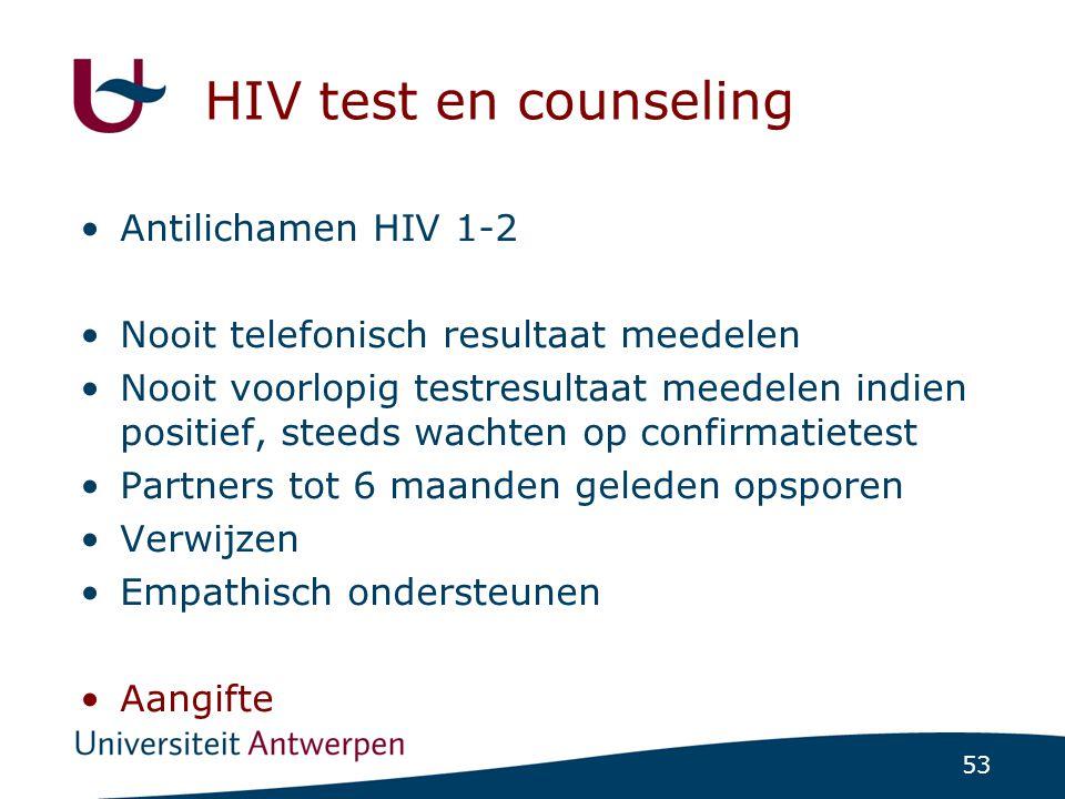 HIV test en counseling Antilichamen HIV 1-2