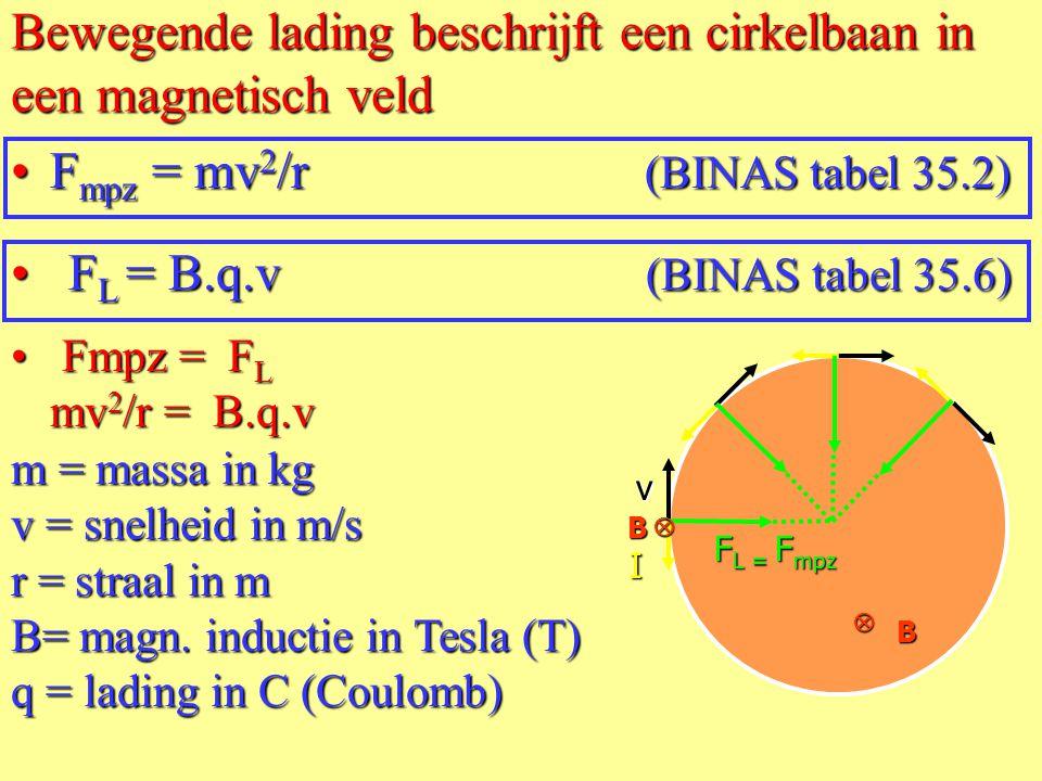 Bewegende lading beschrijft een cirkelbaan in een magnetisch veld