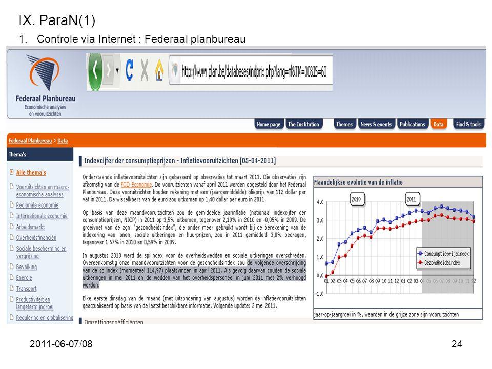 IX. ParaN(1) Controle via Internet : Federaal planbureau 2011-06-07/08