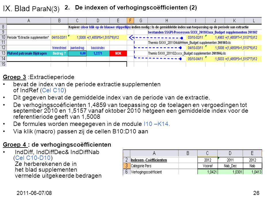 IX. Blad ParaN(3) De indexen of verhogingscoëfficienten (2)