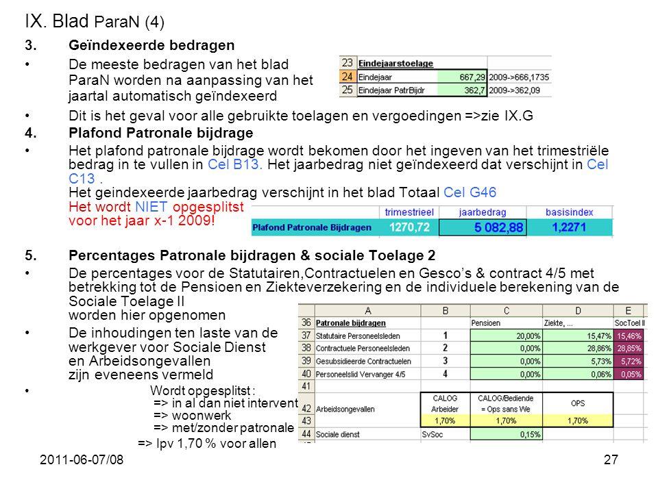 IX. Blad ParaN (4) Geïndexeerde bedragen