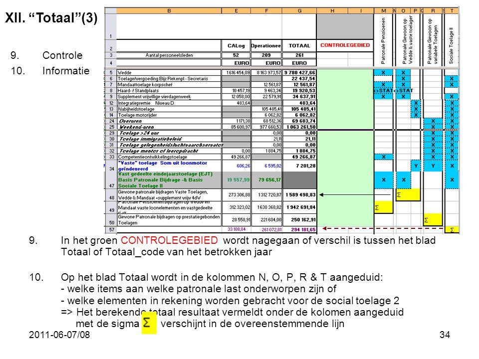 XII. Totaal (3) Controle Informatie