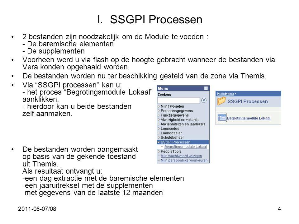 I. SSGPI Processen 2 bestanden zijn noodzakelijk om de Module te voeden : - De baremische elementen - De supplementen.