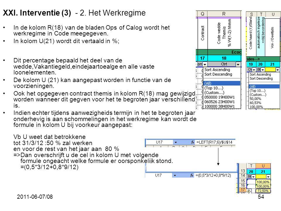 XXI. Interventie (3) - 2. Het Werkregime