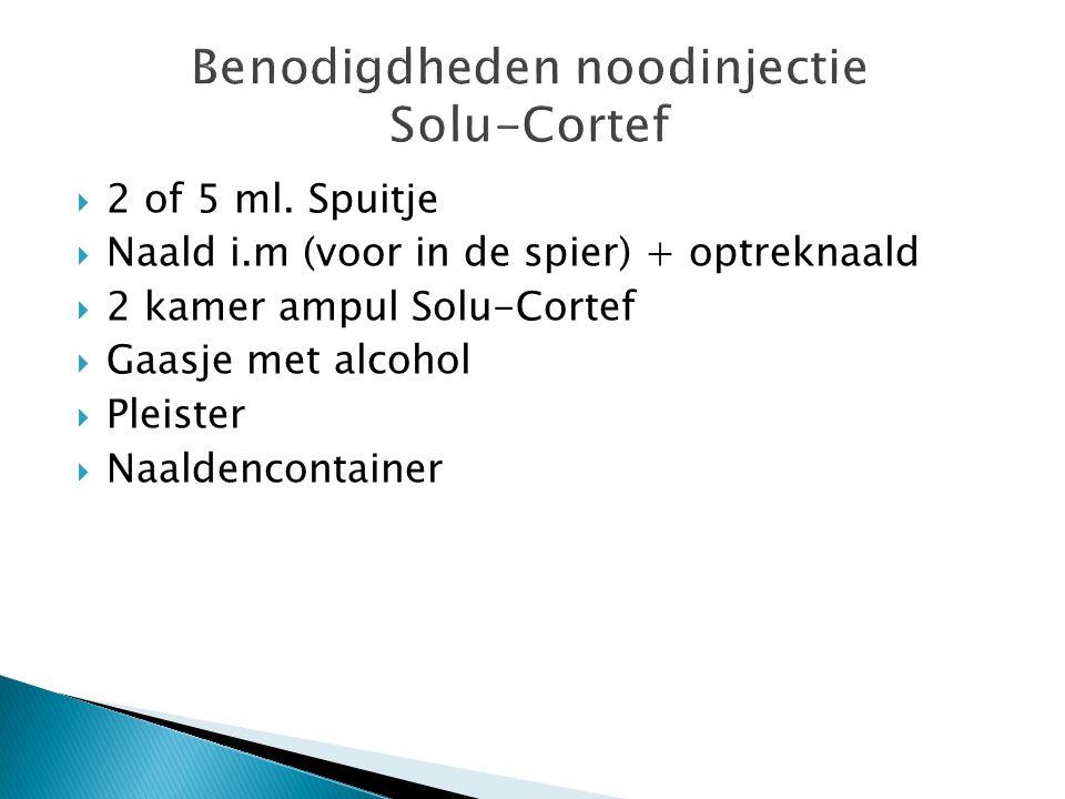 Benodigdheden noodinjectie Solu-Cortef