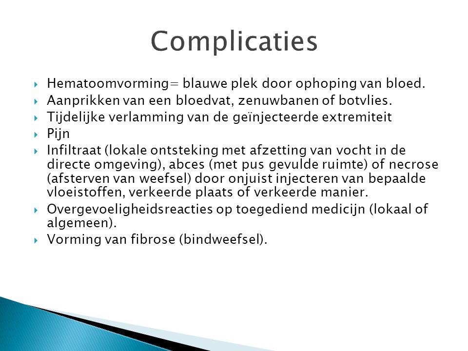 Complicaties Hematoomvorming= blauwe plek door ophoping van bloed.